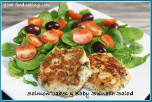salmon cakes and baby spinach salad