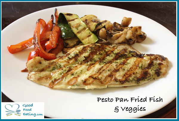 pesto pan fried fish and veggies