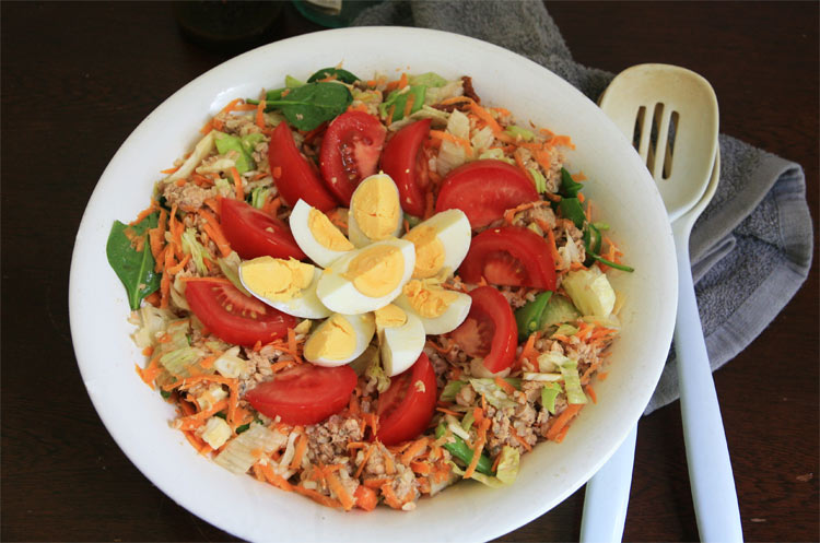Easy salmon and egg salad